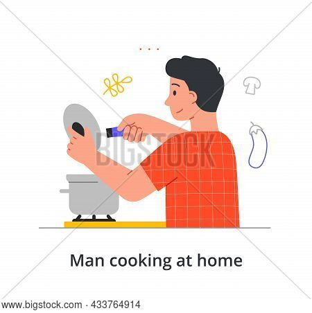 Smiling Male Character Is Stirring Up The Soup He Makes At Home On White Background. Concept Of Peop
