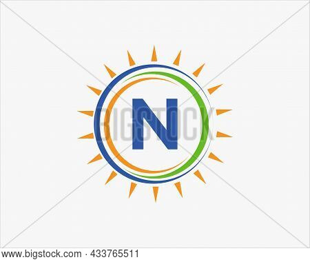 Sun Solar Energy Logo On Letter N Template. N Letter Solar Logo Design. Solar Panel Farm Electric Fa