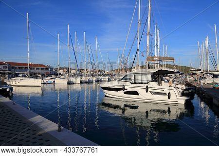 Pirovac, Croatia - July 12, 2021: Sailboats Moored In Pirovac Marina. Croatia Is A Famous Summer Sai