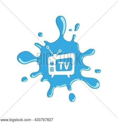 Vector Icon Of An Old Tv. Vintage Television Device With Ink Blot Background.