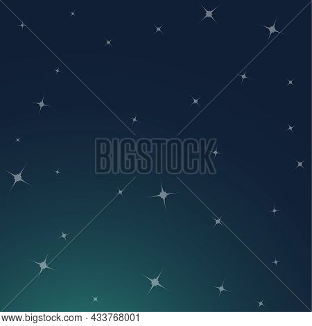 Night Starry Sky. Glowing Stars In Space. Vector Background With Sparkles.