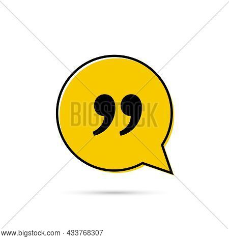 Quote Frame With Commas. Vector Speech Bubble Quotation, Comment, Message Border.