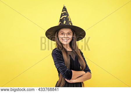 Happy Witch Kid Wear Hat Costume Of Wizard And Glasses On Halloween Party, Halloween Costume