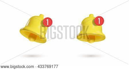 3d Notification Bell Isolated On White Background. 3d Realistic Render Of Bell With New Message Icon