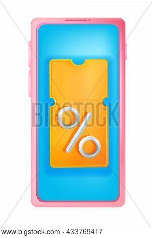 3d Discount Coupon Illustration, Vector Yellow Event Bonus Voucher, Smartphone Screen, Percent Sign.
