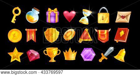 Ui Game Icon Set, Vector Casino Interface Object Kit, Magic Inventory Element Collection, Golden Cro