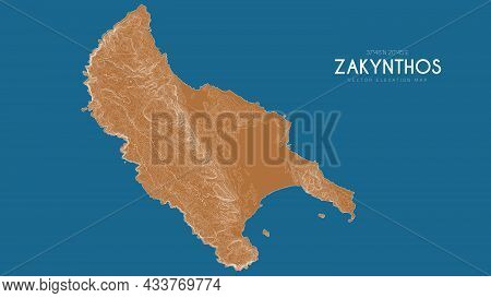 Topographic Map Of Zakynthos, Greece. Vector Detailed Elevation Map Of Island. Geographic Elegant La