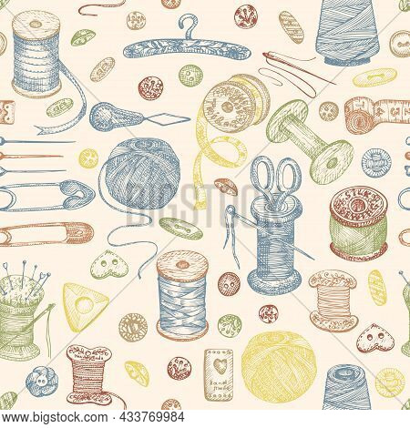 Seamless Pattern With Hand-drawn Vintage Sewing Tools. Buttons, Threads, Needles, Pins, Spools. Sket
