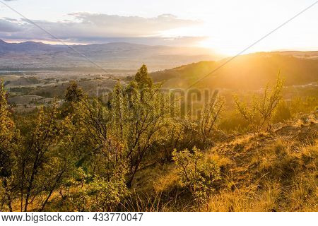 Sunset At The Andes Mountains Near Huancayo In Junin, Peru