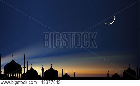 Eid Mubarak Card, Silhouette Dome Mosques At Night With Crescent Moon, Dark Blue Sky,vector Banner B