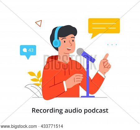 Smiling Male Character Is Recording An Audio Podcast In A Professional Studio On White Background. C