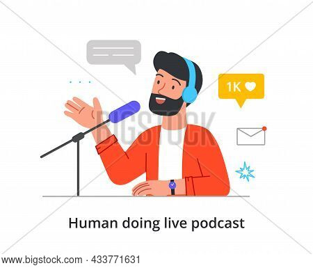 Cheerful Bearded Male Character Is Recording Live Audio Podcast In A Studio On White Background. Con