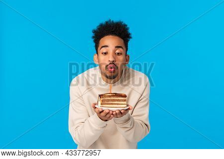 May All Wishes Fulfill. Cute Stylish African-american African American Guy With Afro Haircut, Beard,