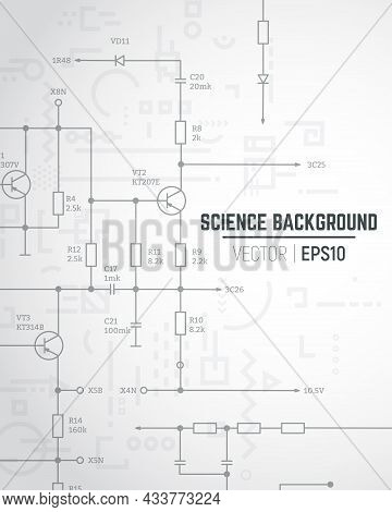 Vector Science And Technology Concept. Electric Circuit - Wiring Radio Scheme. Radio Parts On Backgr