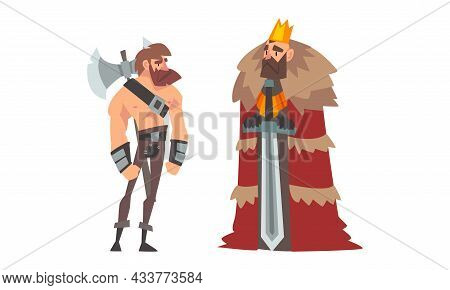 Medieval Warrior With Hatchet And King In Mantle With Crown On His Head Vector Set