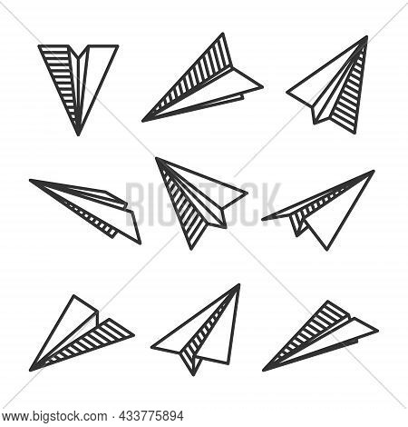 Various Hand Drawn Paper Planes. Black Doodle Airplanes. Aircraft Icon, Simple Monochrome Plane Silh