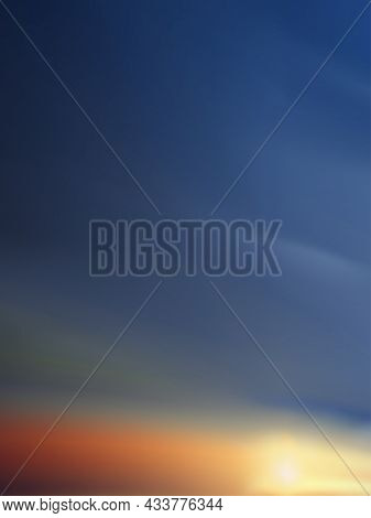 Orange,yellow,pink And Blue Sky Background, Vertical Dramatic Twilight Landscape With Sunset In Even