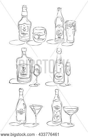Bottle And Glass Whiskey, Beer, Liquor, Champagne, Martini, Vermouth Together In Hand Drawn Style. R