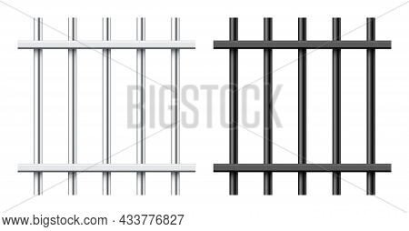 Realistic Black And Silver Metal Prison Bars Isolated On White Background. Detailed Jail Cage, Priso