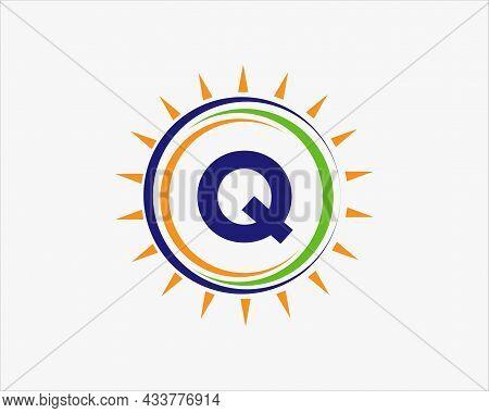 Sun Solar Energy Logo On Letter Q Template. Q Letter Solar Logo Design. Solar Panel Farm Electric Fa