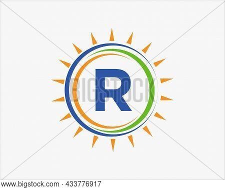Sun Solar Energy Logo On Letter R Template. R Letter Solar Logo Design. Solar Panel Farm Electric Fa