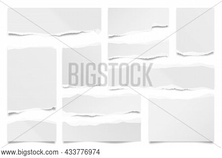 Ripped Paper Strips Isolated On White Background. Realistic Paper Scraps With Torn Edges. Sticky Not