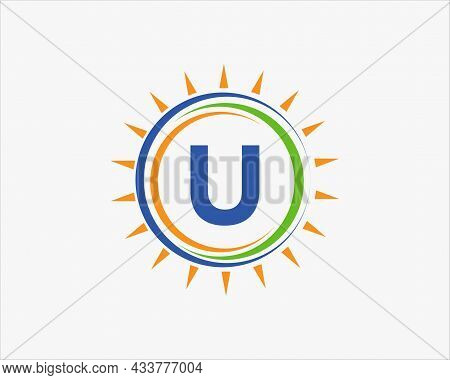 Sun Solar Energy Logo On Letter U Template. U Letter Solar Logo Design. Solar Panel Farm Electric Fa