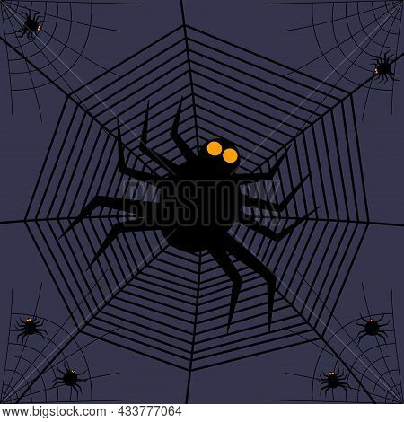 Halloween Party Invitations Or Greeting Card With Spider Webs And Spiders. Vector Illustration. Plac