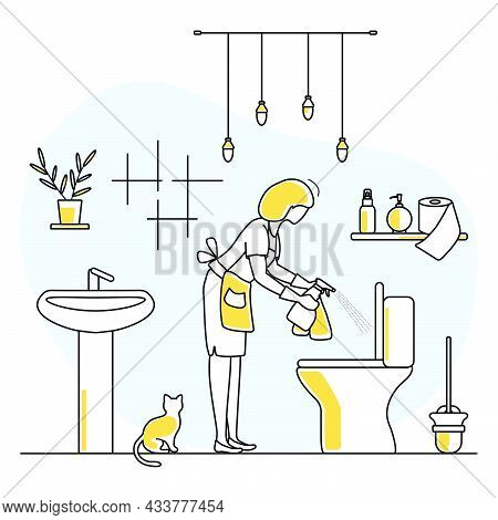 Vector Illustration Apartment House Cleaning Maid Service Woman Washing Plumbing In Lavatory. Profes