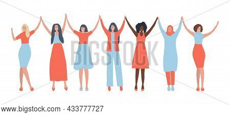 Women Are Holding Hands. International Women's Day Concept. Women's Community. Female Solidarity. Ve
