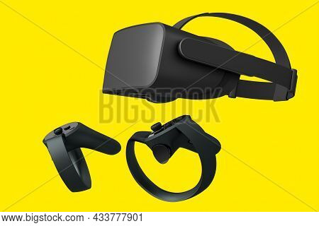 Virtual Reality Glasses And Black Controllers For Online Gaming On Yellow