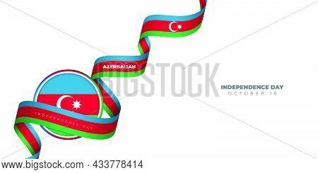 Azerbaijan Round Flag Vector Illustration With Waving Azerbaijan Ribbon. Azerbaijan Independence Day