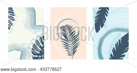 Set With Botanical Wall Art Decoration On Colorful Background. Boho Foliage Art Drawing With Abstrac