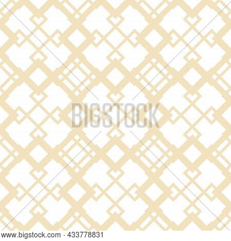 Diamond Grid Vector Seamless Pattern. Abstract Geometric Texture With Diagonal Lines, Rhombuses, Squ