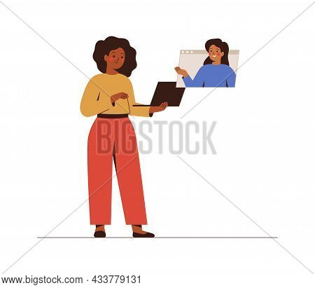 Businesswomen Discuss Projects Via Video Call. Girl Talks With Her Friend Online. People Communicate