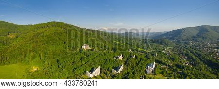 Panorama of the health resort in Ustron on the hills of the Silesian Beskids. Poland