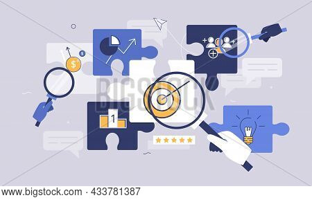 Business Elements With Puzzle Parts As Successful Target Aim Results. Company Goal Achievement After