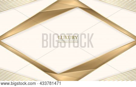 Elegant Realistic Cream Shade Luxury Design Background With Golden Lines And Shadows. Beige And Gold