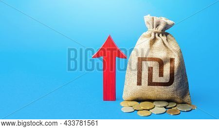 Israeli Shekel Money Bag With Red Arrow Up. Recover Financial System After Crisis. Deposit Interest.