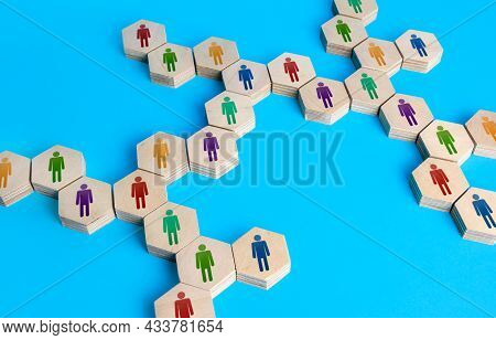 Chain Of Communicating People. Cooperation For Solving Tasks. Unity And Diversity. Networking. Multi