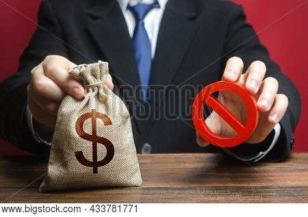 The Man Refuses To Give Out Money. Refusal To Provide A Loan Mortgage, Bad Credit History. Financial