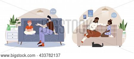 Set Of Scenes With Children And Parents Talking On White Background. Father And Mother Talking To Th
