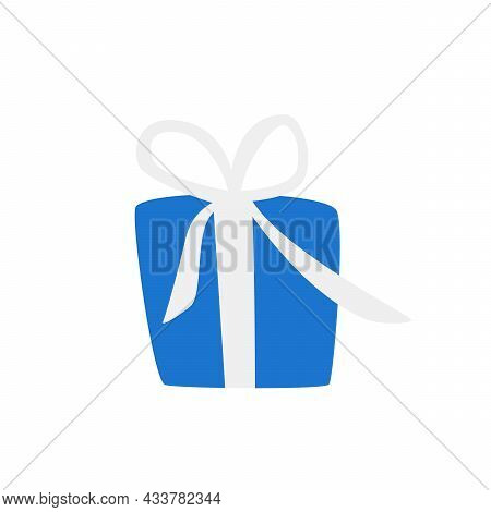 Beautiful Decorative Gift Blue Box, With A White Bow. Isolated On White Background. Vector Illustrat