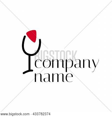 Wine Logo. Logo For A Liquor Store, Restaurant, Bar. Logotype With Sign Of Wine Glass With Red Spot.