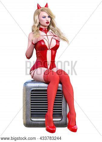Beautiful Woman In Latex Bodysuit.