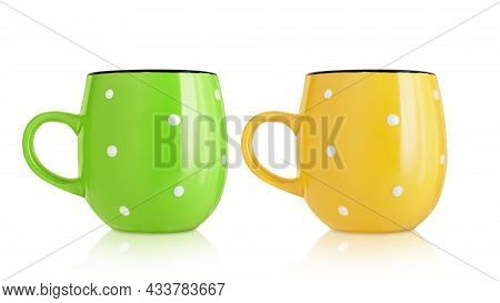 Ceramic Cups. Two Ceramic Mugs With A Pattern Isolated On A White Background. Mugs With A Handle. Gr
