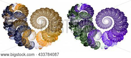 The Multi-colored Spirals Seem To Be Made Of Tightly Twisted Rope. Graphic Design Elements Isolated