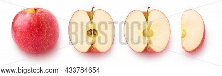 Whole Red Apple Fruit, Half And Pieces In A Row, Flat Lay, Isolated On White Background