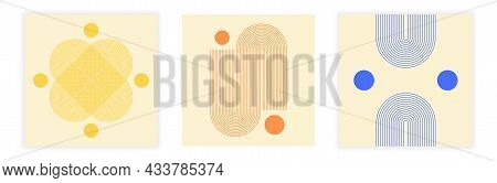 Collection Of Aesthetic Posters. Minimalistic Art With Fine Lines And Geometric Shapes. Boho-style D
