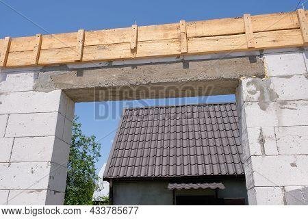 Part Of A House Under Construction Close-up. Construction Concept